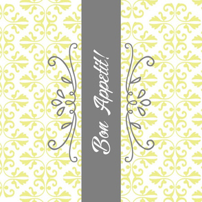 Bon Appetit Damask Tea Towel - Yellow