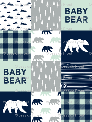baby bear patchwork quilt top || the northern lights collection
