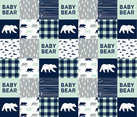 baby bear patchwork quilt top || the northern lights collection fabric by littlearrowdesign on Spoonflower - custom fabric