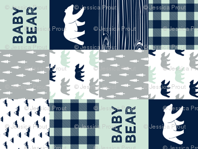 baby bear patchwork quilt top (90) || the northern light collection