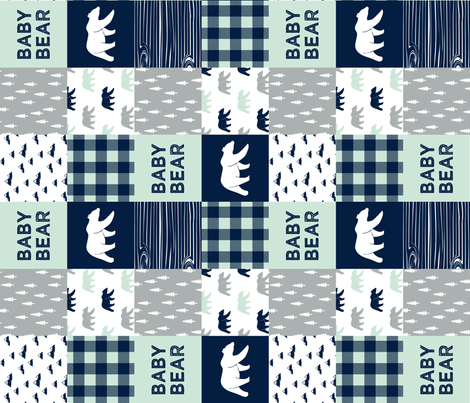 baby bear patchwork quilt top (90) || the northern light collection fabric by littlearrowdesign on Spoonflower - custom fabric