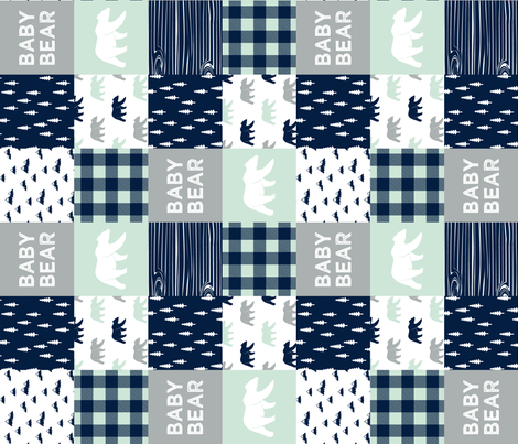 baby bear patchwork quilt top V2 (90)|| the northern light collection fabric by littlearrowdesign on Spoonflower - custom fabric