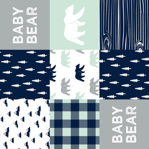 baby bear patchwork quilt top V2 (90)|| the northern light collection