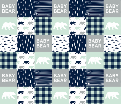baby bear patchwork quilt top V2 || the northern light collection fabric by littlearrowdesign on Spoonflower - custom fabric