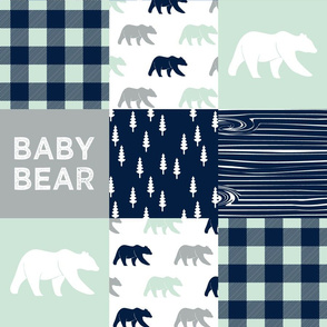 baby bear patchwork quilt top V2 || the northern light collection