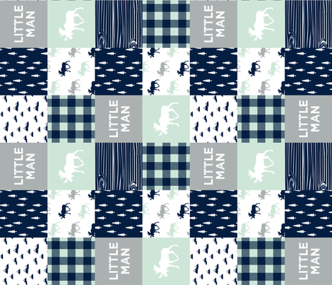 little man patchwork quilt top (90) || the northern lights collection fabric by littlearrowdesign on Spoonflower - custom fabric