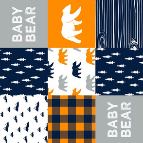 baby bear patchwork quilt top (90) || the great outdoors collection