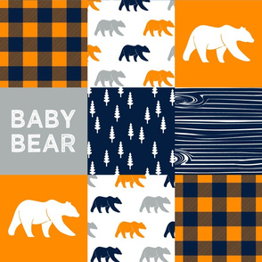 baby bear patchwork quilt top  || the great outdoors collection