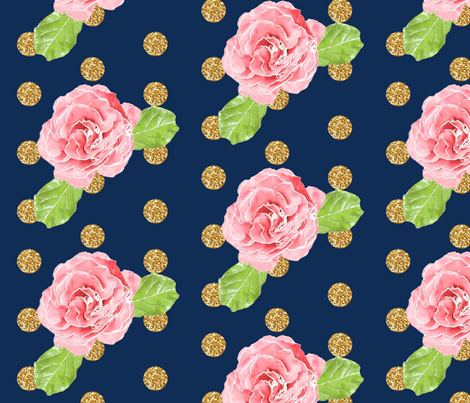 Glitter Roses // Navy fabric by willowlanetextiles on Spoonflower - custom fabric