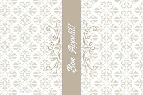 Bon Appetit Damask Tea Towel Cream fabric by thatsgraphic on Spoonflower - custom fabric