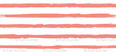 Distressed Painted Coral Pink Stripes on White