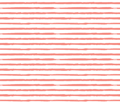 Distressed Painted Coral Pink Stripes on White fabric by sweeterthanhoney on Spoonflower - custom fabric