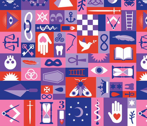 Esoteric Charms & Talismans in Sundown fabric by drawpilgrim on Spoonflower - custom fabric