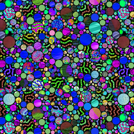 PROFUSION CIRCLES BUBBLES BLUE PURPLE GREEN fabric by paysmage on Spoonflower - custom fabric