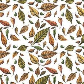 Hand Painted Swirling Autumn Leaves