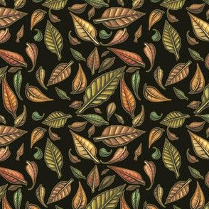 Hand Painted Swirling Autumn Leaves with black background