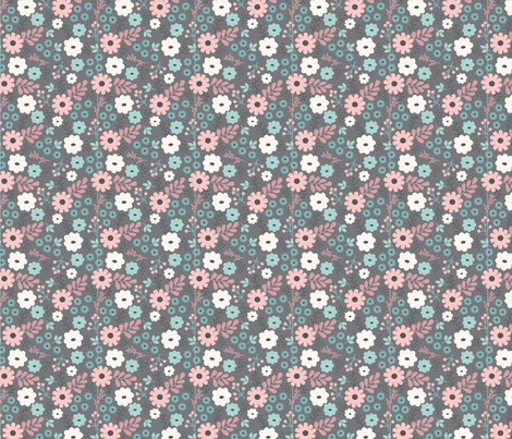 gray floral fabric by megan_kline on Spoonflower - custom fabric