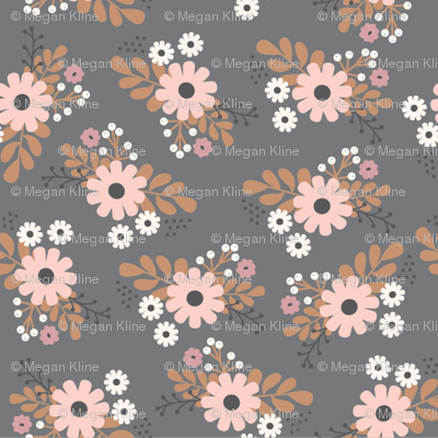gray floral bunches