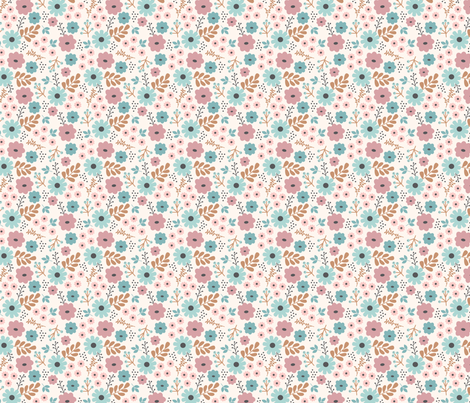 pink and blue floral fabric by megan_kline on Spoonflower - custom fabric