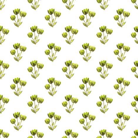 folk watercolor flower bud fabric by smallhoursshop on Spoonflower - custom fabric