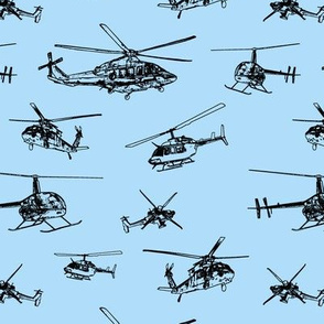 Helicopters on Light Blue // Small