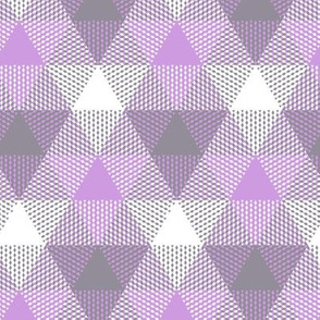 triangle gingham in grey and lavender
