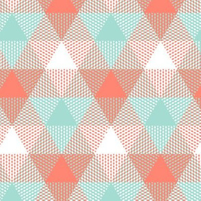triangle gingham - coral, mint, white