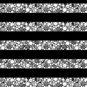 STRIPES PROFUSION CIRCLES BLACK AND  WHITE silver
