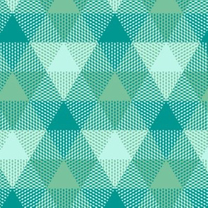 triangle gingham in surf aqua and green