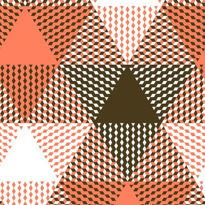 large triangle plaid - coral, bronze and white