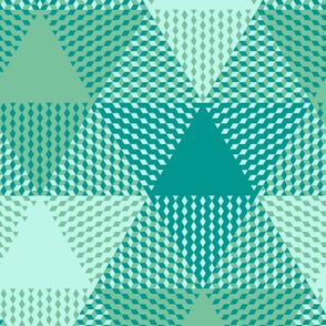 large triangle plaid - surf aqua, green, light blue