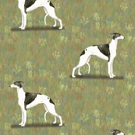 Black and White Whippet fabric by eclectic_house on Spoonflower - custom fabric