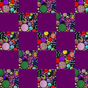 CHECKS PROFUSION CIRCLES violet red