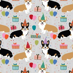 corgi birthday dog cute corgis dog fabric birthdays fabric presents balloons dog fabric