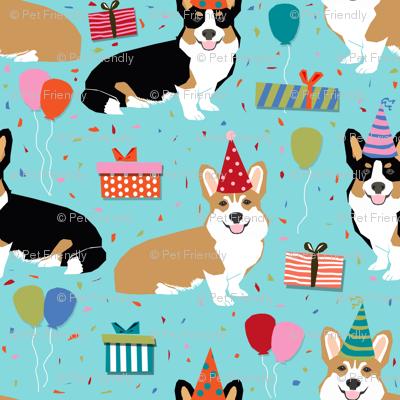 corgi birthday fabric cute presents balloons fabric corgi dogs fabric