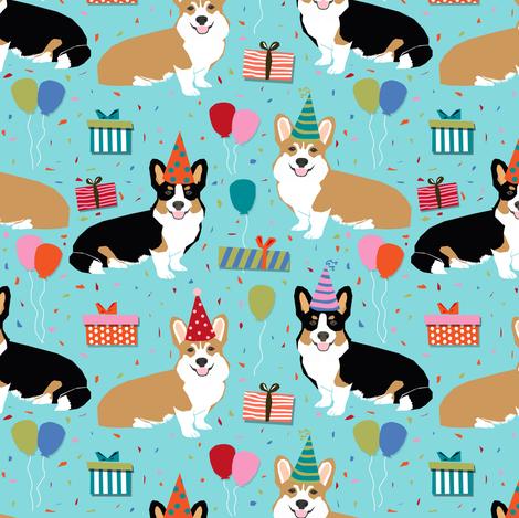 corgi birthday fabric cute presents balloons fabric corgi dogs fabric fabric by petfriendly on Spoonflower - custom fabric