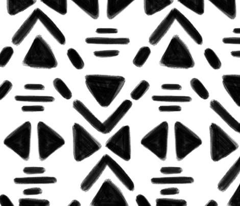 Triangles and lines - White and Black 6 inch repeat fabric by howjoyful on Spoonflower - custom fabric