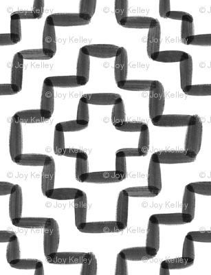 Black watercolor geometric - 6 inch repeat - White background