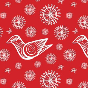 Holiday Bird with Snowflakes and Starbursts, Red and White