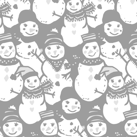 Snow Day Friends in grays fabric by jacquelinehurd on Spoonflower - custom fabric