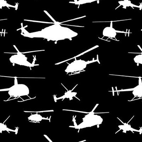 Helicopter Silhouettes on Black // Small