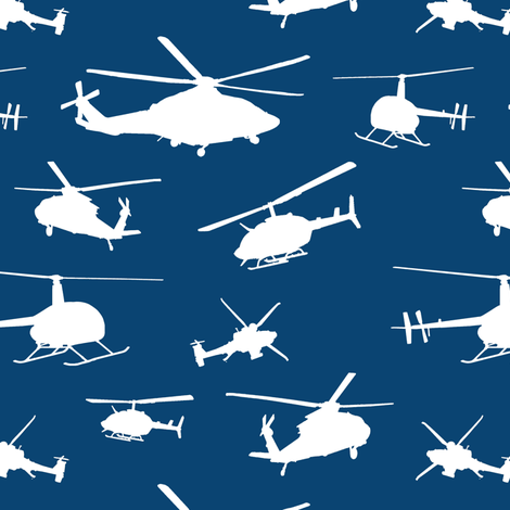 Helicopter Silhouettes on Navy // Small fabric by thinlinetextiles on Spoonflower - custom fabric