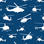 Helicopter Silhouettes on Navy // Small