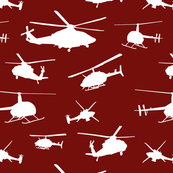 Helicopter Silhouettes // Maroon