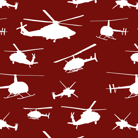 Helicopter Silhouettes on Burgundy // Small fabric by thinlinetextiles on Spoonflower - custom fabric