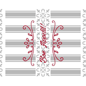 Bon Appetit Striped Tea Towel - Red