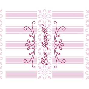 Bon Appetit Striped Tea Towel - Pink