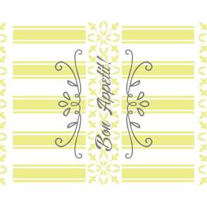 Bon Appetit Striped Tea Towel - Yellow