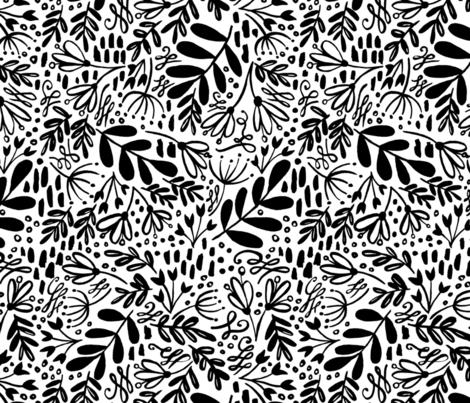 Black White Dusk Garden Pattern fabric by kitcronk on Spoonflower - custom fabric