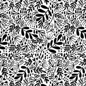 Black White Dusk Garden Pattern
